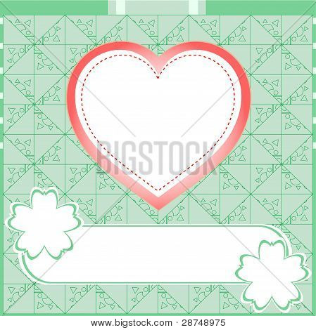 Graffiti love heart. Wedding green vector background