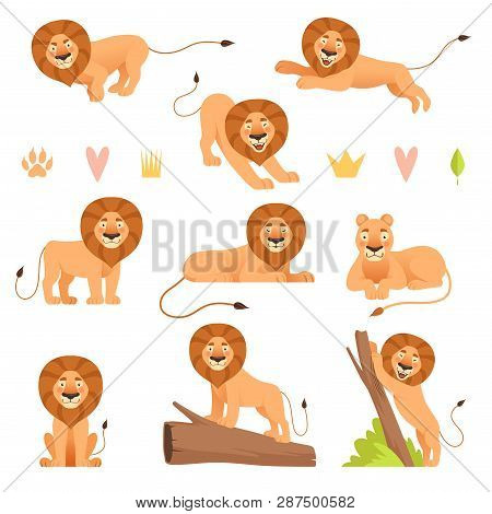 Lion Cartoon Wild Running Yellow