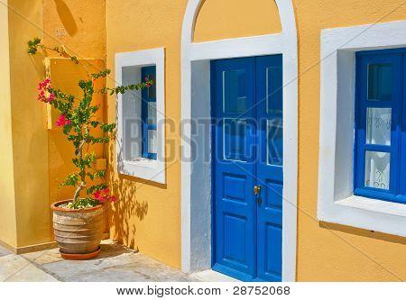 Colorful Old Street In Oia, Santorini