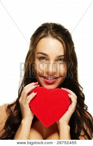 beautiful smiling woman with a red heart