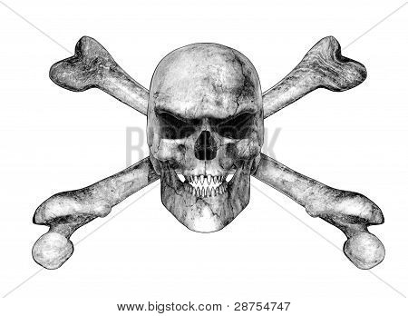 Skull And Crossbones - Pencil Drawing Style