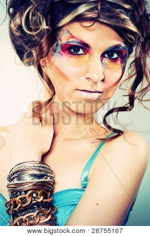 Fashion Portrait Of Young Beautiful Woman With Stylish Makeup