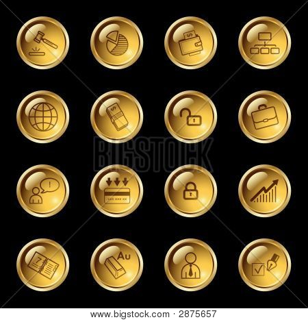 Gold Drop Business Icons