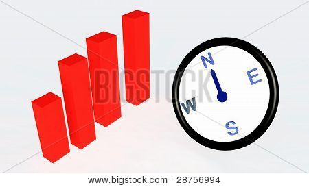 compass with bar graph or chart