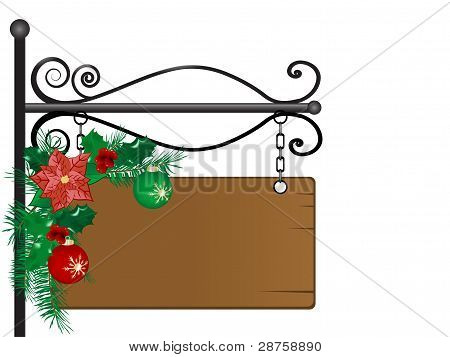 Signboard With Garland