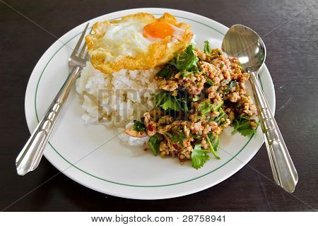 Cooked Rice With Spicy Minced Meat Salad