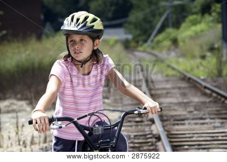 Girl On Bike, Looking Away