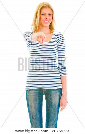 Cheerful Teen Girl Pointing Finger On You
