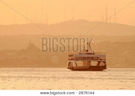 Ferry At Sunset, Istanbul, Turkey