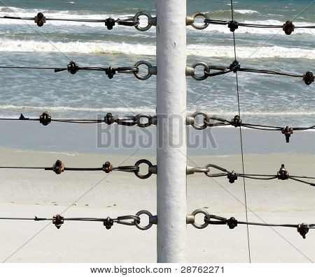 Metal Fence And The Ocean