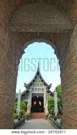 Lanna Style Temple With Old Brick Frame In Chiang Mai