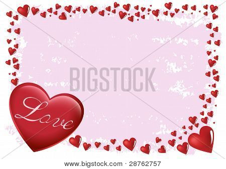 Love Happy Valentine with Heart Shape with Space for Text Illustration in Vector