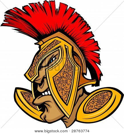 Roman Centurion Mascot Head With Helmet Cartoon Vector Graphic
