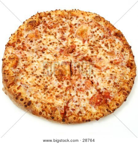 Whole Plain Cheese Pizza Isolated Over White