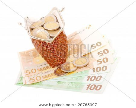 Euro Money In Purse, Isolated On White