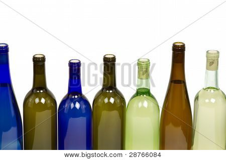Assorted Bottles of Wine with White Background