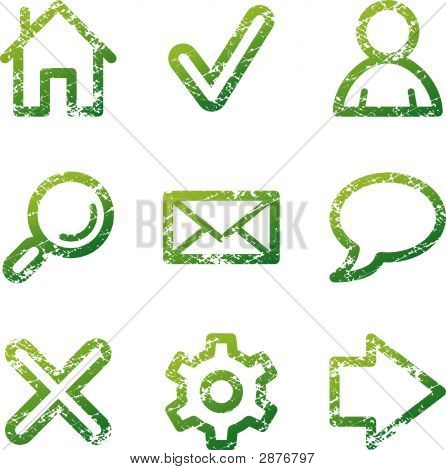 Green Grunge Web Contour Icons V2