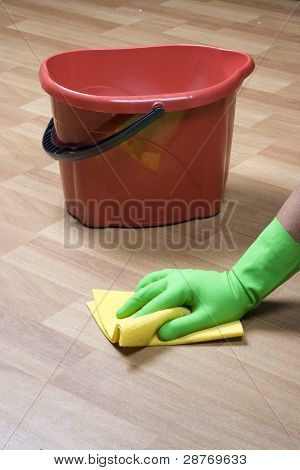 cleaning equipment and wooden parquet