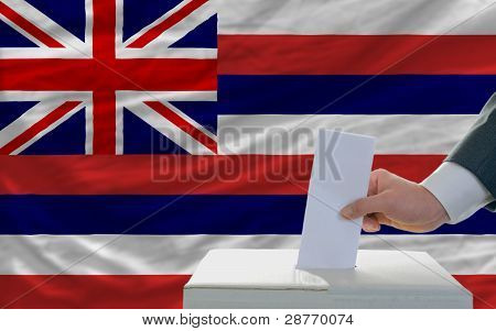 Man Voting On Elections In Front Of Flag Us State Flag Of Hawaii