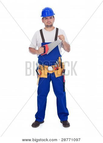 Construction Worker With Handsaw And Other Tools