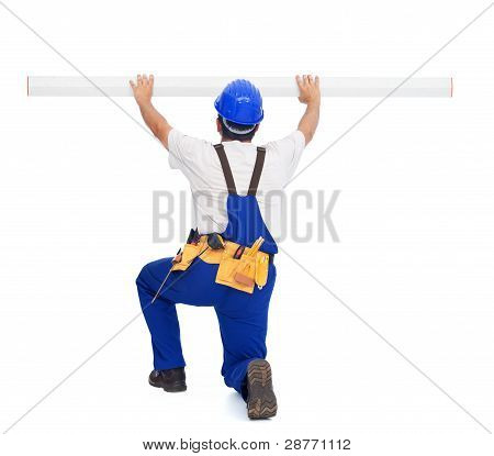 Handyman Or Worker With Ruler