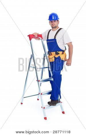Handyman Or Worker Leaning Against Ladder