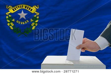 Man Voting On Elections In Front Of Flag Us State Flag Of Nevada