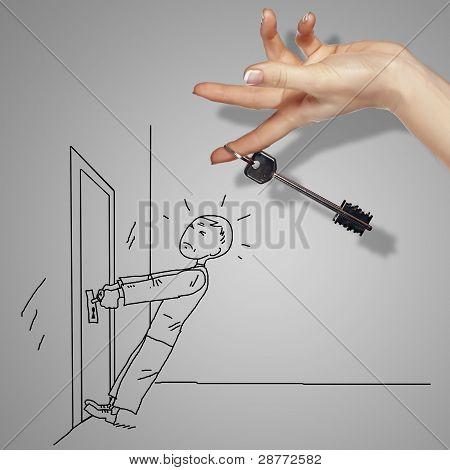 Man and door