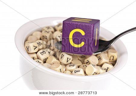 Vitamin-rich alphabet soup featuring vitamin c