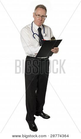 Standing Stern Doctor Isolated On White