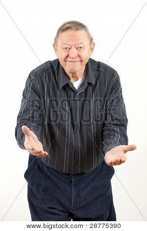 Happy Grandpa With Open Arms
