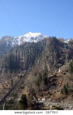 Ski Lifts On Swiss Mountains
