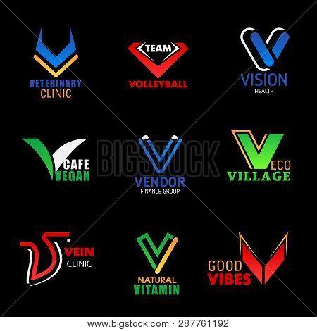 V Letter Icons Of Veterinary