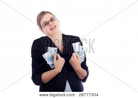 Happy Business Woman Holding Euro Banknotes