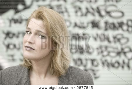 Woman In Front Of Graffiti