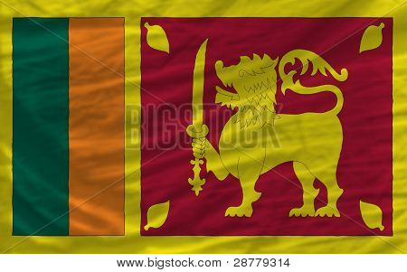 Complete Waved National Flag Of Srilanka For Background