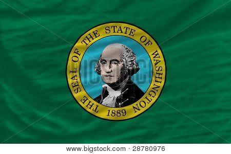 Bandera agitado completa del Estado americano de Washington para el fondo