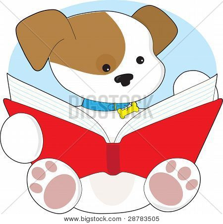 Cute Puppy Reading