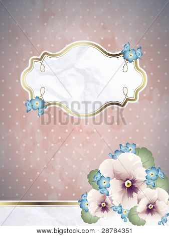 Romantic vintage banner with flowers