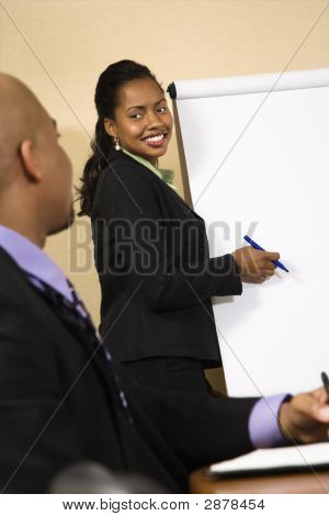 Woman Presenting Business.