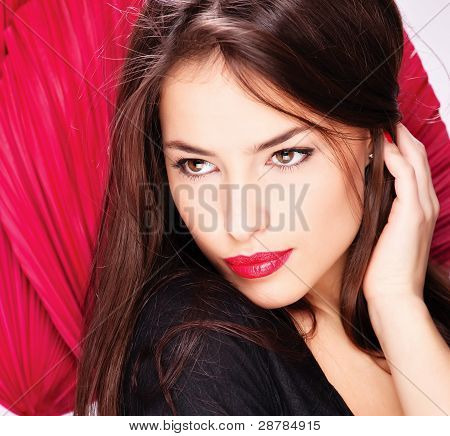 Woman In Front Of Red Fans
