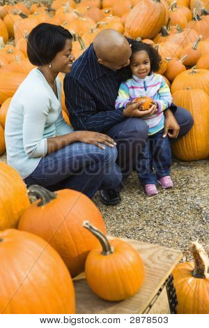 Family Getting Pumpkin.