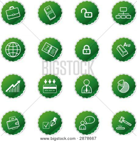 Green Sticker Business Icons