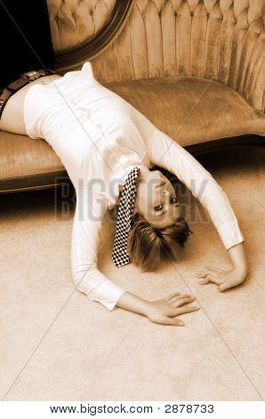 Young Girl Lying On The Sofa