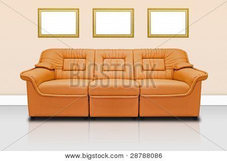 Orange Modern Sofa