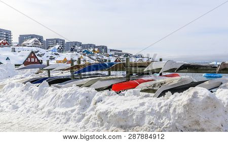 Inuit Kayaks Stored For A