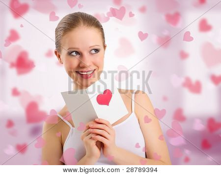 Beautiful Girl Reads  A Postcard Valentine