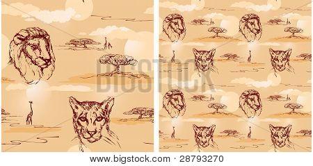 Lion and cheetah heads. Seamless pattern.