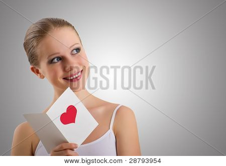 Beautiful Girl With A Love Postcard Valentines