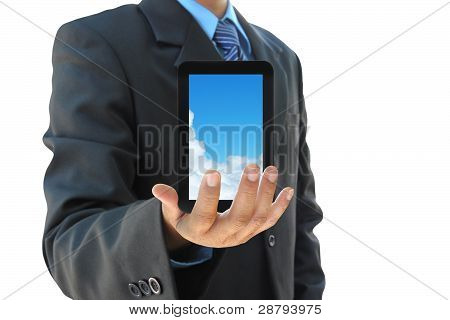 businessman hand holding touch pad PC on white background
